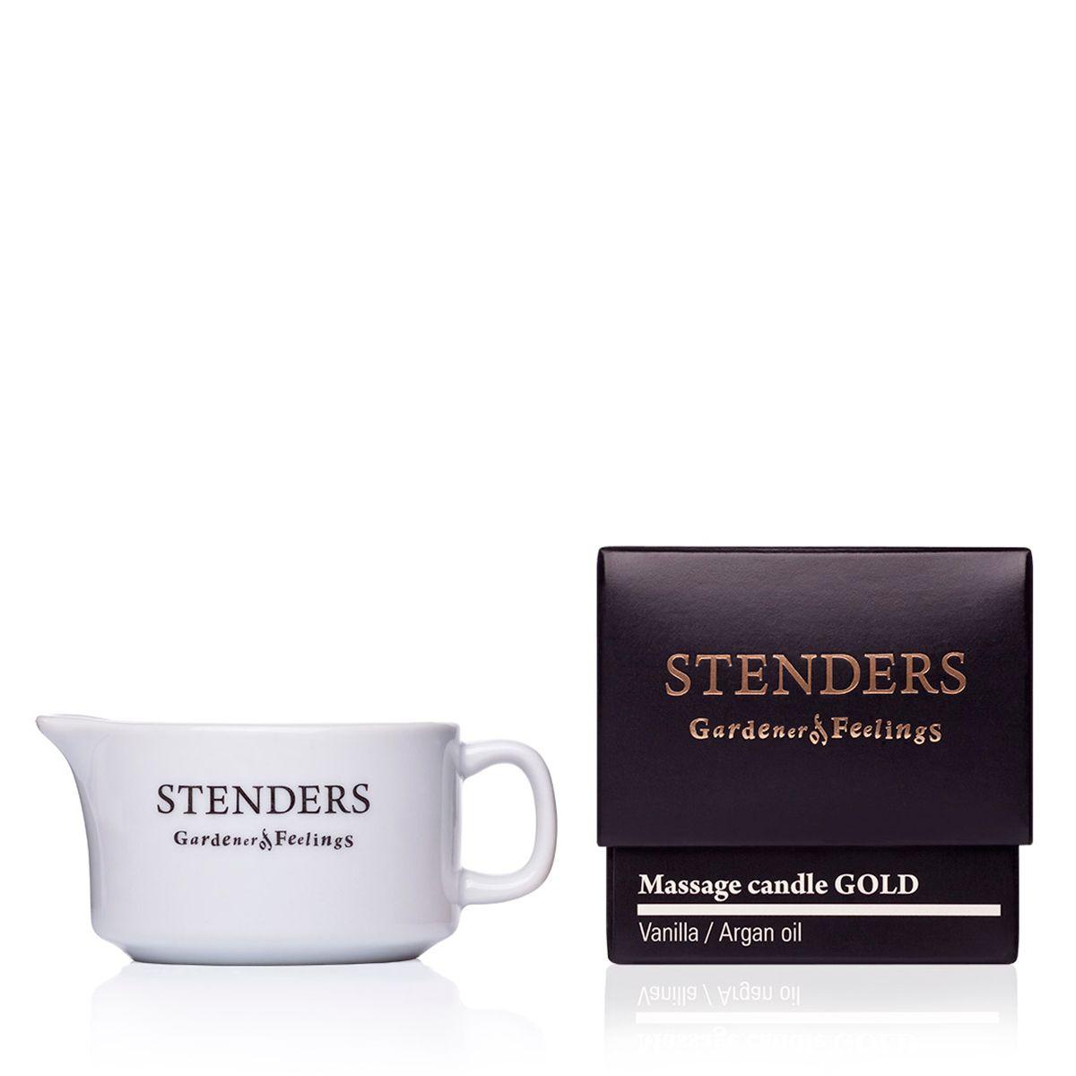 Stenders Свеча для массажа Gold, 35 гCM_GOLDСвеча обогащена ценным аргановым маслом и экстрактом ванили. При зажигании свеча превращается в теплое, ароматическое масло,которое позаботится о вашей коже, делая ее более нежной, гладкой и придавая ей нотки легкого аромата. Под воздействием массажа ваше тело расслабится, а на коже останется легкий, золотистый блеск.