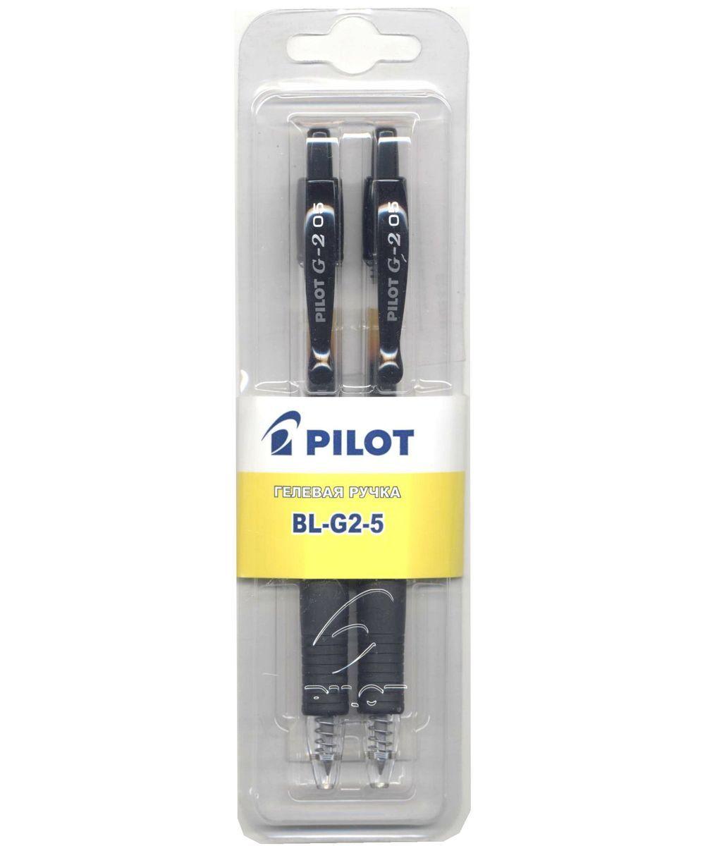 Pilot Набор гелевых ручек BL-G2-5 цвет черный 2 штB-G2-5-2BГелевая автоматическая ручка с резиновым упором для пальцев, 0.5мм, 2шт, черн., блистер