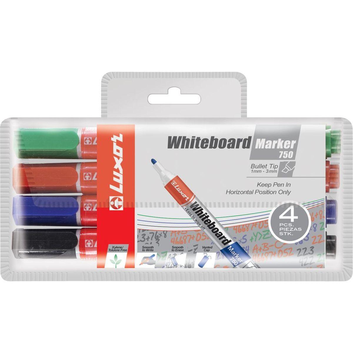 Luxor Набор маркеров для доски 4 шт3380/4WTМаркеры д/доски, 1-3мм, 4 шт, асс