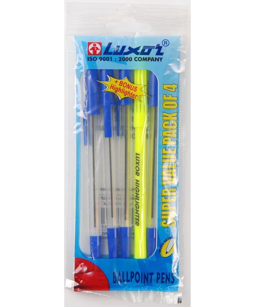 Luxor Набор письменных принадлежностей 5 шт1202/4C+BHНабор письменных принадлежностей Luxor станет незаменимым атрибутом в учебе любого школьника и на работе. В набор входят 4 шариковые ручки с колпачками и текстовыделитель. Цвет чернил ручек, толщина линии 0,8 мм.