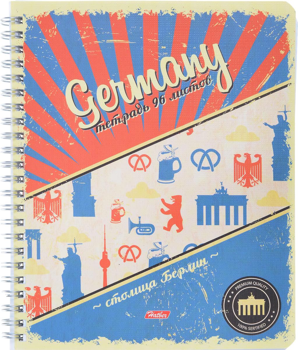 Hatber Тетрадь Germany 96 листов в клетку96Т5тB1грТетрадь с обложкой из картона, защищающей бумагу от деформации.