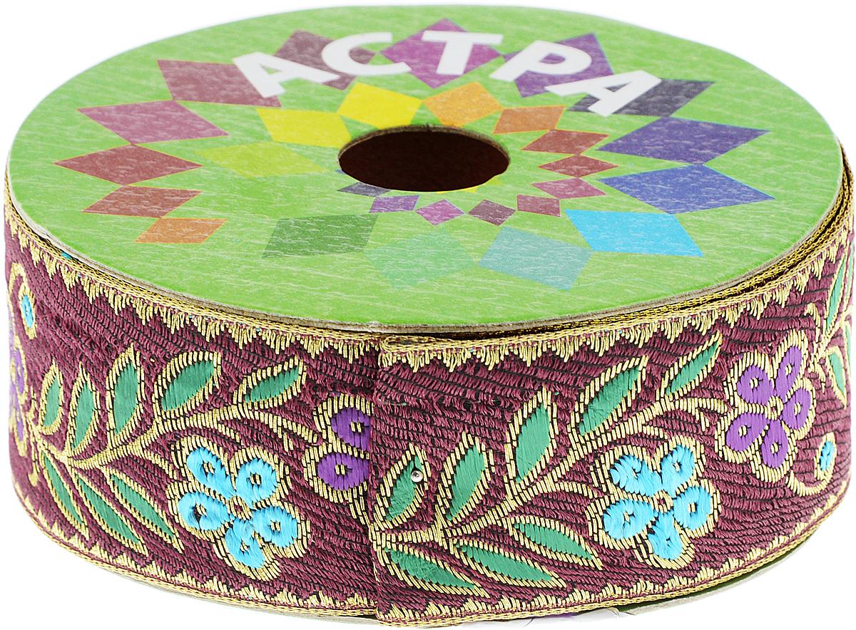 Тесьма декоративная Астра, цвет: бордовый (С12), ширина 4 см, длина 9 м. 77034387703438_С12Декоративная тесьма Астра выполнена из текстиля и оформлена оригинальным орнаментом. Такая тесьма идеально подойдет для оформления различных творческих работ таких, как скрапбукинг, аппликация, декор коробок и открыток и многое другое. Тесьма наивысшего качества и практична в использовании. Она станет незаменимым элементом в создании рукотворного шедевра. Ширина: 4 см. Длина: 9 м.