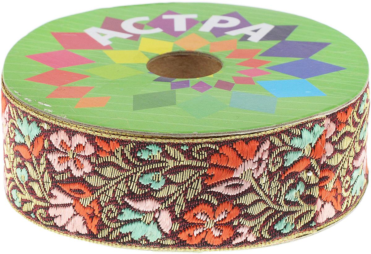 Тесьма декоративная Астра, цвет: бордовый, розовый (С10), ширина 3 см, длина 9 м. 77034437703443_С10Декоративная тесьма Астра выполнена из текстиля и оформлена оригинальным жаккардовым орнаментом. Такая тесьма идеально подойдет для оформления различных творческих работ таких, как скрапбукинг, аппликация, декор коробок и открыток и многое другое. Тесьма наивысшего качества и практична в использовании. Она станет незаменимым элементом в создании рукотворного шедевра. Ширина: 3 см. Длина: 9 м.