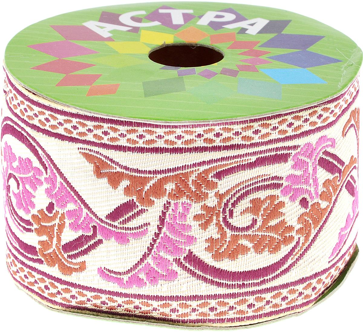 Тесьма декоративная Астра, цвет: бежевый, ширина 6 см, длина 9 м. 77032517703251Декоративная тесьма Астра выполнена из текстиля и оформлена оригинальным жаккардовым орнаментом. Такая тесьма идеально подойдет для оформления различных творческих работ таких, как скрапбукинг, аппликация, декор коробок и открыток и многое другое. Тесьма наивысшего качества и практична в использовании. Она станет незаменимым элементом в создании рукотворного шедевра. Ширина: 6 см. Длина: 9 м.