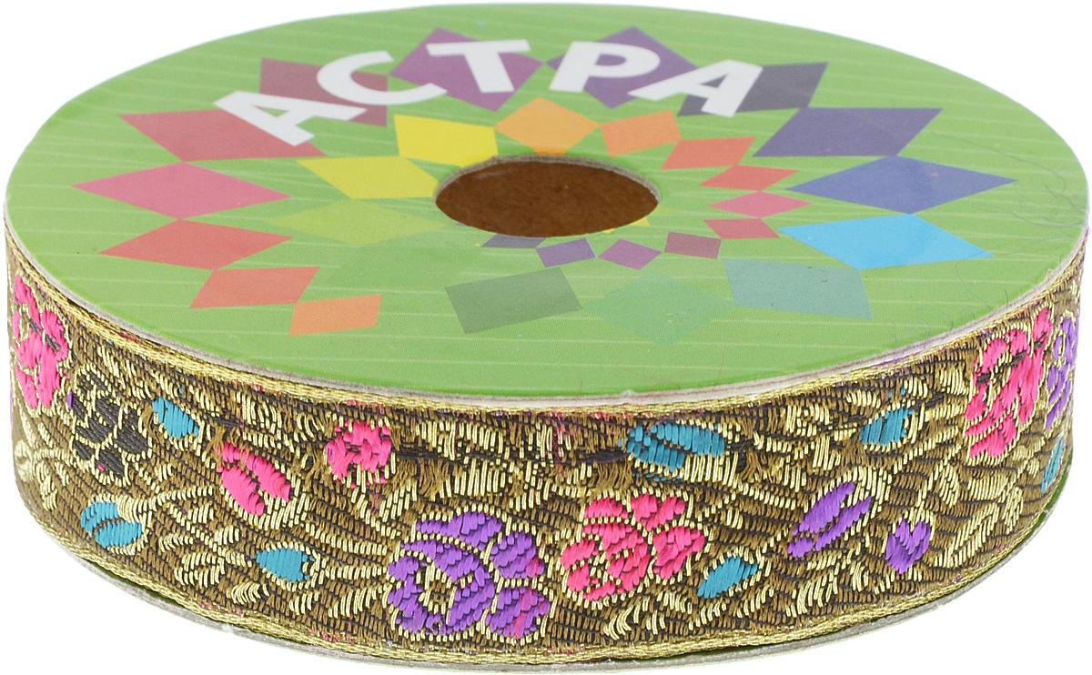 Тесьма декоративная Астра, цвет: болотный, фуксия (С22), ширина 2,5 см, длина 9 м. 77034337703433_С22Декоративная тесьма Астра выполнена из текстиля и оформлена оригинальным орнаментом. Такая тесьма идеально подойдет для оформления различных творческих работ таких, как скрапбукинг, аппликация, декор коробок и открыток и многое другое. Тесьма наивысшего качества и практична в использовании. Она станет незаменимым элементом в создании рукотворного шедевра. Ширина: 2,5 см. Длина: 9 м.