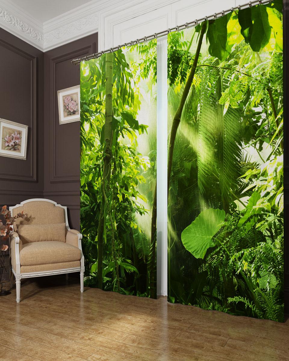 Комплект фотоштор Сирень Тропичесикй лес, на ленте, высота 260 см. 00029-ФШ-БЛ-00100029-ФШ-БЛ-001Фотошторы Сирень Тропический лес, выполненные из блэкаута, отлично дополнят украшение любого интерьера. Блэкаут - это трехслойная светонепроницаемая ткань - 100% полиэстер, по структуре напоминает плотный хлопок, очень мягкий,с небольшим сероватым оттенком из-за черной нити, входящей в состав ткани. Блэкаут не требует особого ухода, хорошо драпируется. Пропускает солнечные лучи не более 5%. Крепление на карниз при помощи шторной ленты на крючки. В комплекте 2 шторы. Ширина одного полотна: 145 см. Высота штор: 260 см. Рекомендации по уходу: стирка при 30 градусах, гладить при температуре до 110 градусов. Изображение на мониторе может немного отличаться от реального.