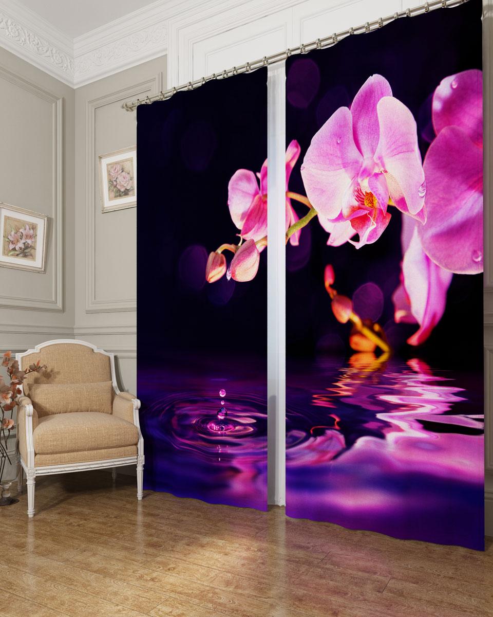 Комплект фотоштор Сирень Орхидея над водой, на ленте, высота 260 см02656-ФШ-БЛ-001Фотошторы Сирень Орхидея над водой, выполненные из блэкаута, отлично дополнят украшение любого интерьера. Блэкаут - это трехслойная светонепроницаемая ткань - 100% полиэстер, по структуре напоминает плотный хлопок, очень мягкий,с небольшим сероватым оттенком из-за черной нити, входящей в состав ткани. Блэкаут не требует особого ухода, хорошо драпируется. Пропускает солнечные лучи не более 5%. Крепление на карниз при помощи шторной ленты на крючки. В комплекте 2 шторы. Ширина одного полотна: 145 см. Высота штор: 260 см. Рекомендации по уходу: стирка при 30 градусах, гладить при температуре до 110 градусов. Изображение на мониторе может немного отличаться от реального.