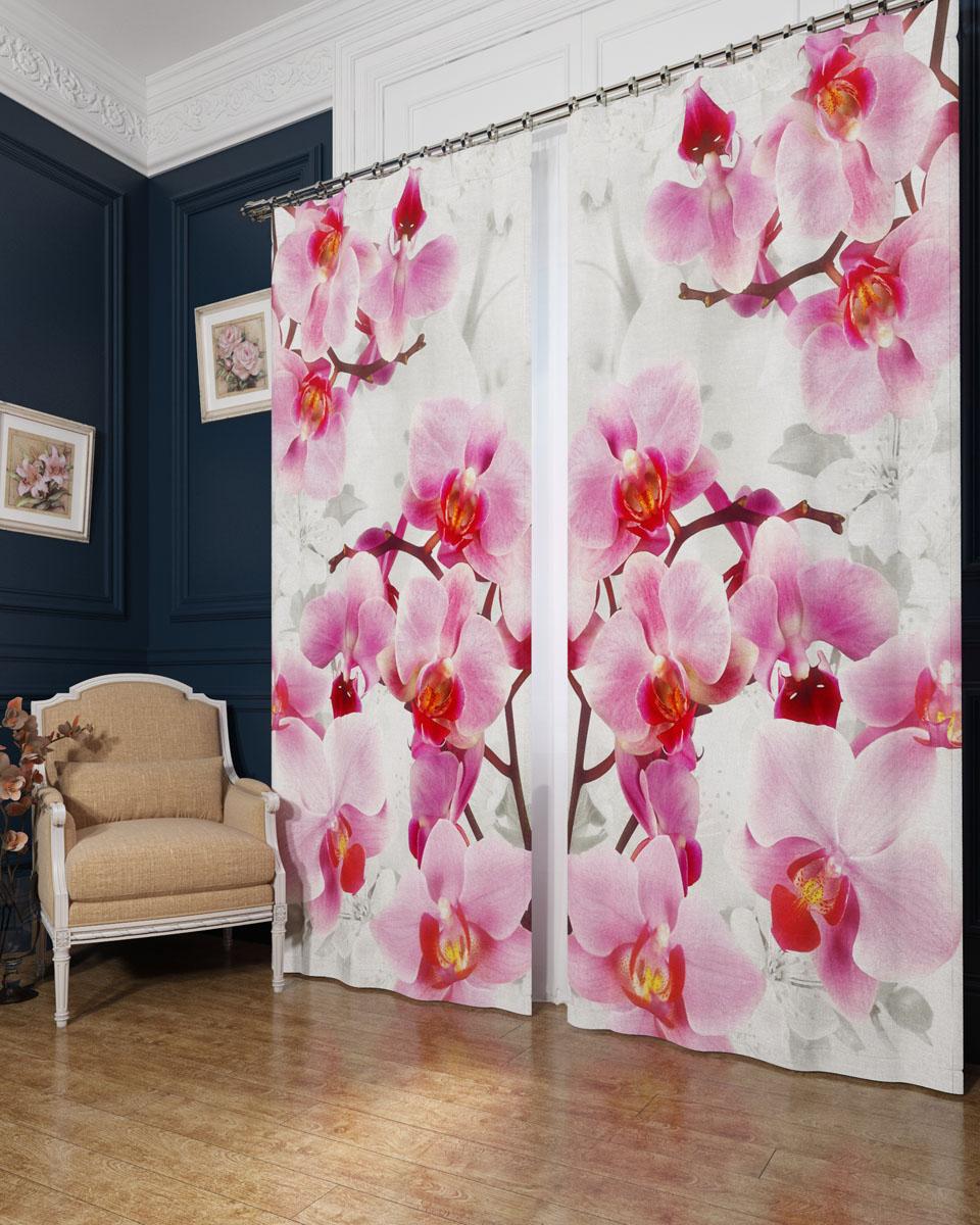Комплект фотоштор Сирень Ветви орхидеи, на ленте, высота 260 см02782-ФШ-БЛ-001Фотошторы Сирень Ветви орхидеи, выполненные из блэкаута, отлично дополнят украшение любого интерьера. Блэкаут - это трехслойная светонепроницаемая ткань - 100% полиэстер, по структуре напоминает плотный хлопок, очень мягкий,с небольшим сероватым оттенком из-за черной нити, входящей в состав ткани. Блэкаут не требует особого ухода, хорошо драпируется. Пропускает солнечные лучи не более 5%. Крепление на карниз при помощи шторной ленты на крючки. В комплекте 2 шторы. Ширина одного полотна: 145 см. Высота штор: 260 см. Рекомендации по уходу: стирка при 30 градусах, гладить при температуре до 110 градусов. Изображение на мониторе может немного отличаться от реального.