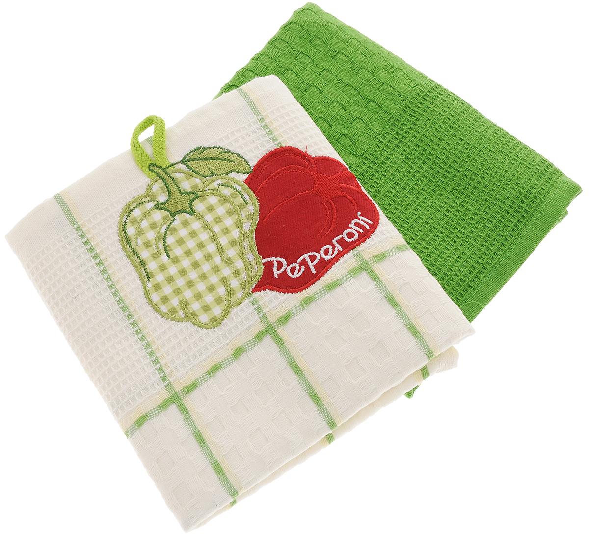 Набор кухонных полотенец Bonita Перец, цвет: зеленый, белый, 45 х 70 см, 2 шт101310054Набор кухонных полотенец Bonita Перец состоит из двух полотенец, изготовленный из натурального хлопка, идеально дополнит интерьер вашей кухни и создаст атмосферу уюта и комфорта. Одно полотенце белого цвета в зеленую клетку оформлено вышивкой в виде двух перцев и оснащено петелькой. Другое полотенце однотонное зеленого цвета без вышивки. Изделия выполнены из натурального материала, поэтому являются экологически чистыми. Высочайшее качество материала гарантирует безопасность не только взрослых, но и самых маленьких членов семьи. Современный декоративный текстиль для дома должен быть экологически чистым продуктом и отличаться ярким и современным дизайном.