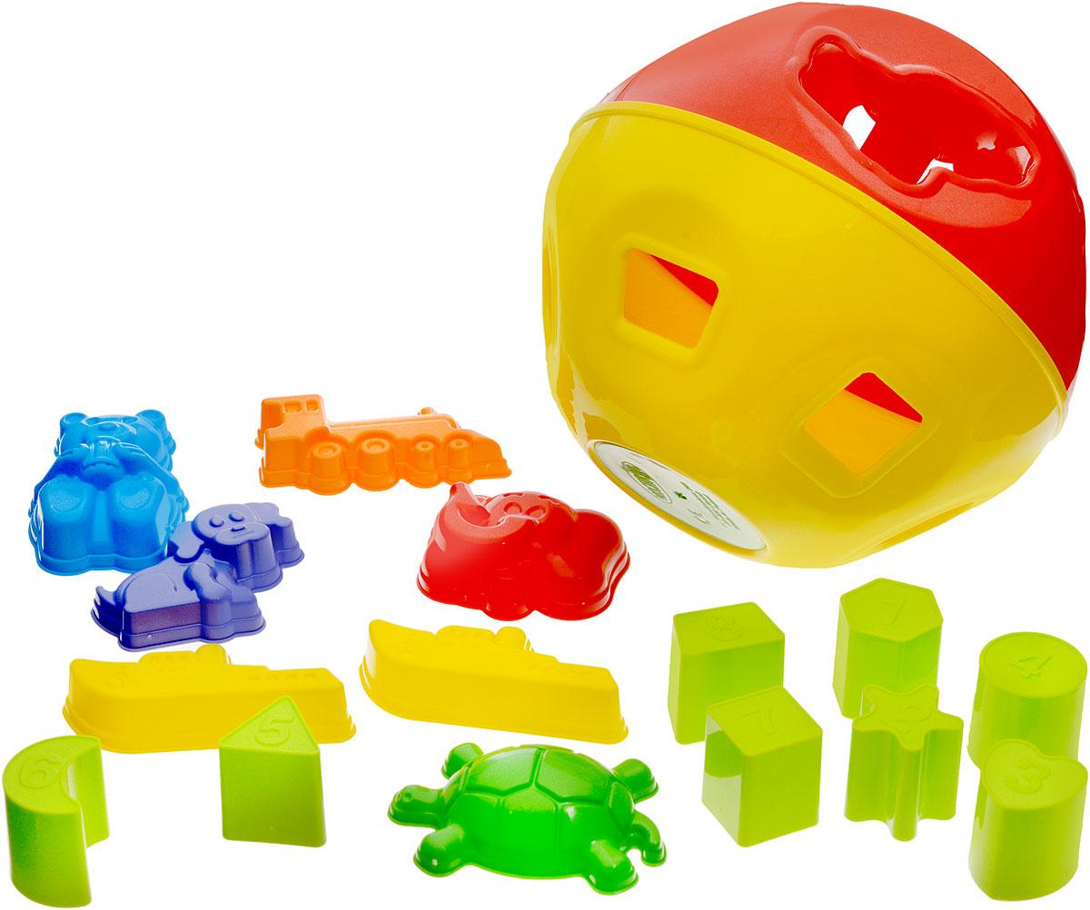 Mochtoys Развивающая игрушка Логический шар15-0016Развивающая игрушка Mochtoys Логический шар предназначена для детей от одного года. Игрушка представляет собой шар с отверстиями, внутри которого располагается множество игрушек. Фигурки малыш с увлечением будет вынимать из шарика и вставлять обратно, подбирая нужное отверстие. Игрушка предназначена для развития у ребенка мелкой моторики рук, логического мышления и цветовосприятия.