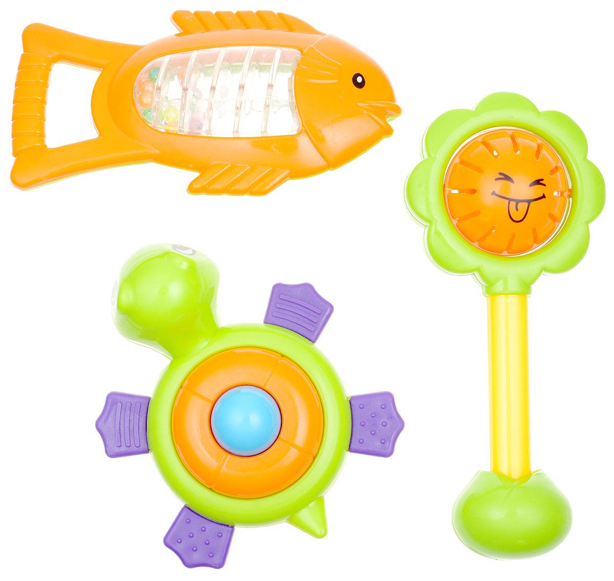 Mioshi Игровой набор Первая игрушка Солнышко Рыбка Черепашка цвет салатовый оранжевыйTY9046Яркие, звонкие, приятные на ощупь погремушки Mioshi Первая игрушка в форме солнышка, рыбки и черепашки станут любимыми игрушками вашей крохи. Игрушки помогают развивать мелкую моторику, восприятие формы и цвета предметов, а также слух и зрение. Игрушки Mioshi созданы специально для малышей, которые только начинают познавать этот волшебный мир. Дети в раннем возрасте всегда очень любознательны, они тщательно исследуют всё, что попадает им в руки. Заботясь о здоровье и безопасности малышей, Mioshi выпускает только качественную продукцию, которая прошла сертификацию.