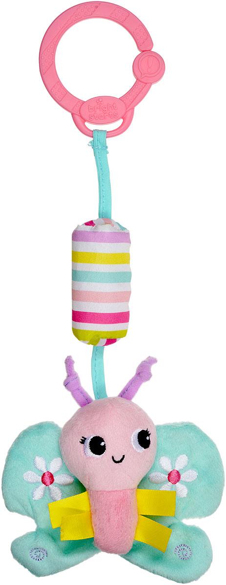Bright Starts Игрушка-подвеска Бабочка цвет розовый бирюзовый8674-1_розовый, бирюзовыйИгрушка-подвеска Bright Starts Бабочка понравится вашему ребенку и станет верным спутником малыша на прогулках и дома. Забавная мягкая игрушка выполнена в виде бабочки с шуршащими крылышками на подвеске с пластиковым кольцом. При встряхивании подвеска издает негромкий мелодичный звон. Кольцо незамкнутое, поэтому игрушку можно прикрепить к кроватке, коляске, стульчику или в любое другое удобное место. Малыш с удовольствием будет изучать веселую бабочку и играть с ней. Игрушка-подвеска поможет вашему малышу развить цветовое и звуковое восприятия, тактильные ощущения, мелкую моторику рук и координацию движений.
