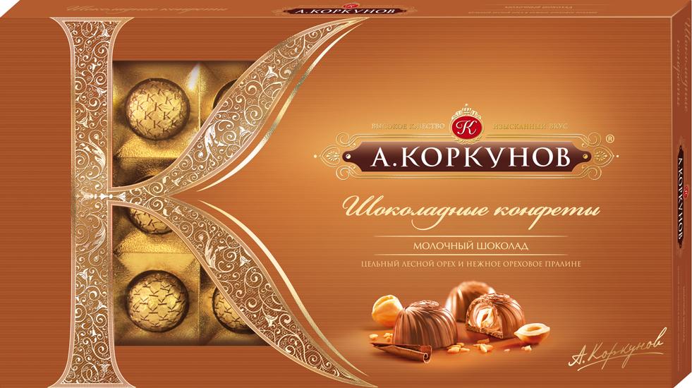 Коркунов Конфеты молочный шоколад с цельным орехом, 190 г79001038При производстве конфет КОРКУНОВ используются сертифицированные сорта какао-бобов, произрастающие в Западной Африке. Ореховая начинка конфет – это настоящее, классическое пралине - сочетание сахара и орехов. Также для производства конфет КОРКУНОВ закупаются только отборные орехи, а каждый из поставщиков проходит строгую проверку качества. Элегантная упаковка подчеркивает вкус изысканных шоколадных конфет. Все это делает конфеты КОРКУНОВ одним из самых желанных подарков на любой праздник.