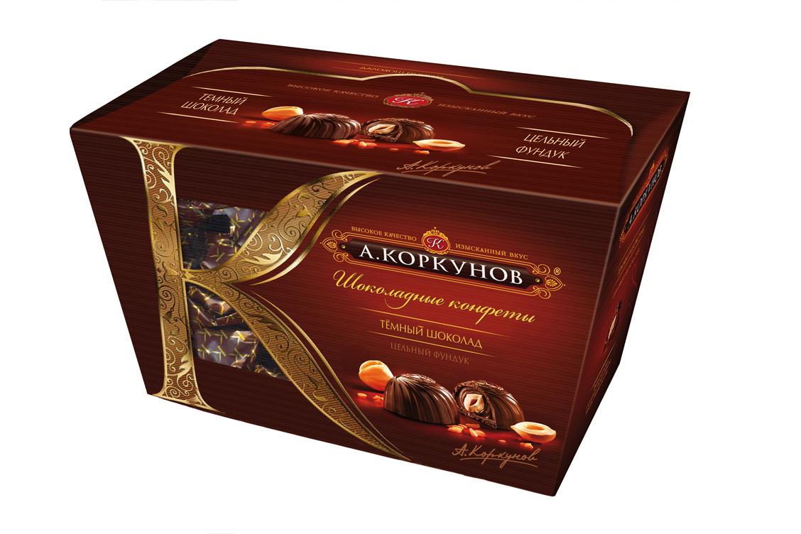 Коркунов Конфеты темный шоколад с цельным орехом, 135 г