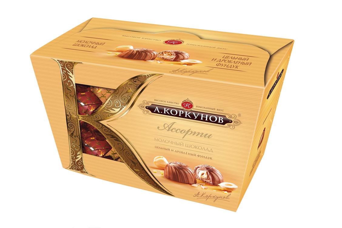 Коркунов Конфеты Ассорти молочный шоколад с цельным фундуком, 135 г