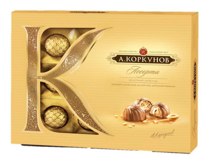 Коркунов Конфеты Ассорти молочный шоколад с цельным и дробленым фундуком, 108 г