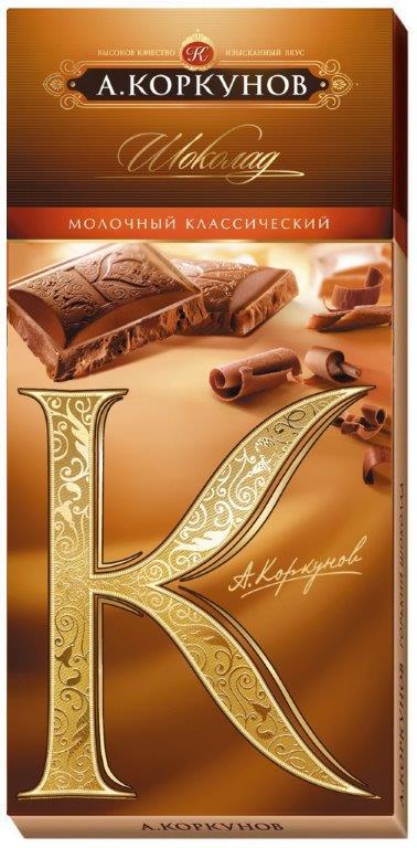 Коркунов шоколад молочный, 90 г