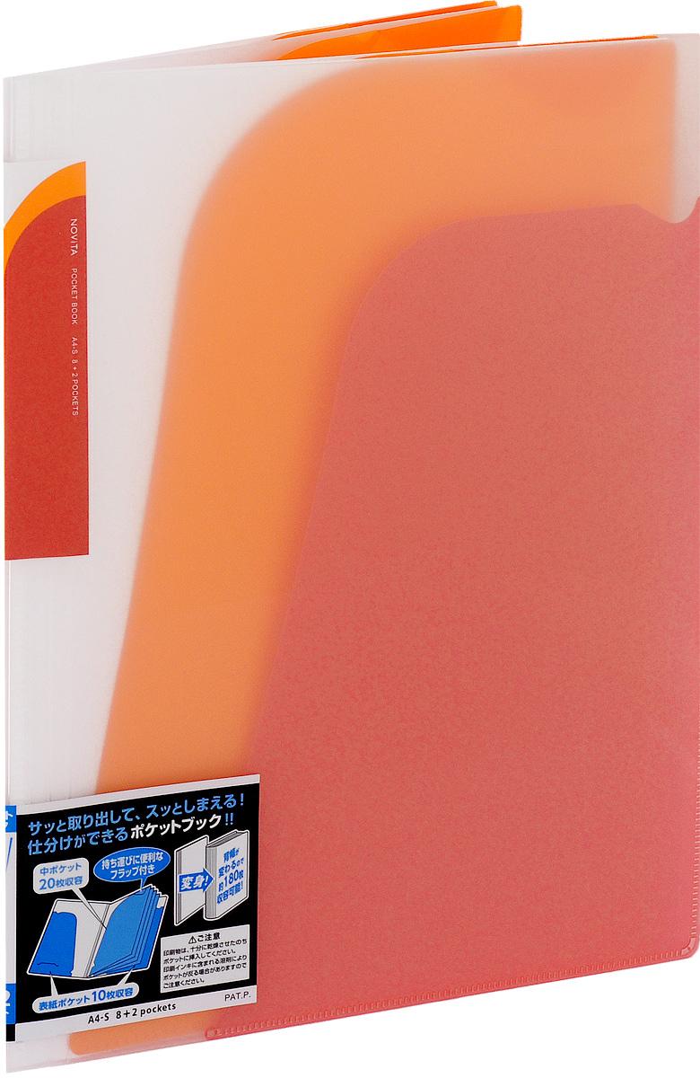 Kokuyo Папка-уголок Novita на 180 листов цвет красный990518Папка-уголок Kokuyo Novita предназначена для хранения документов и тетрадей. Она подойдет как для офисного работника, так и для студента или школьника. По форме это обычная папка-уголок формата А4, но ее преимущество заключается в том, что она имеет 8 дополнительных отделений, в каждое из которых помещается около 20 листов. На внутренней стороне обложки в начале и конце расположены небольшие карманы для мелких бумаг. Общая вместимость составляет около 180 листов самых различных документов. Папка изготовлена из качественного пластика. При транспортировке или хранении ваши документы всегда будут находиться в целости и сохранности.