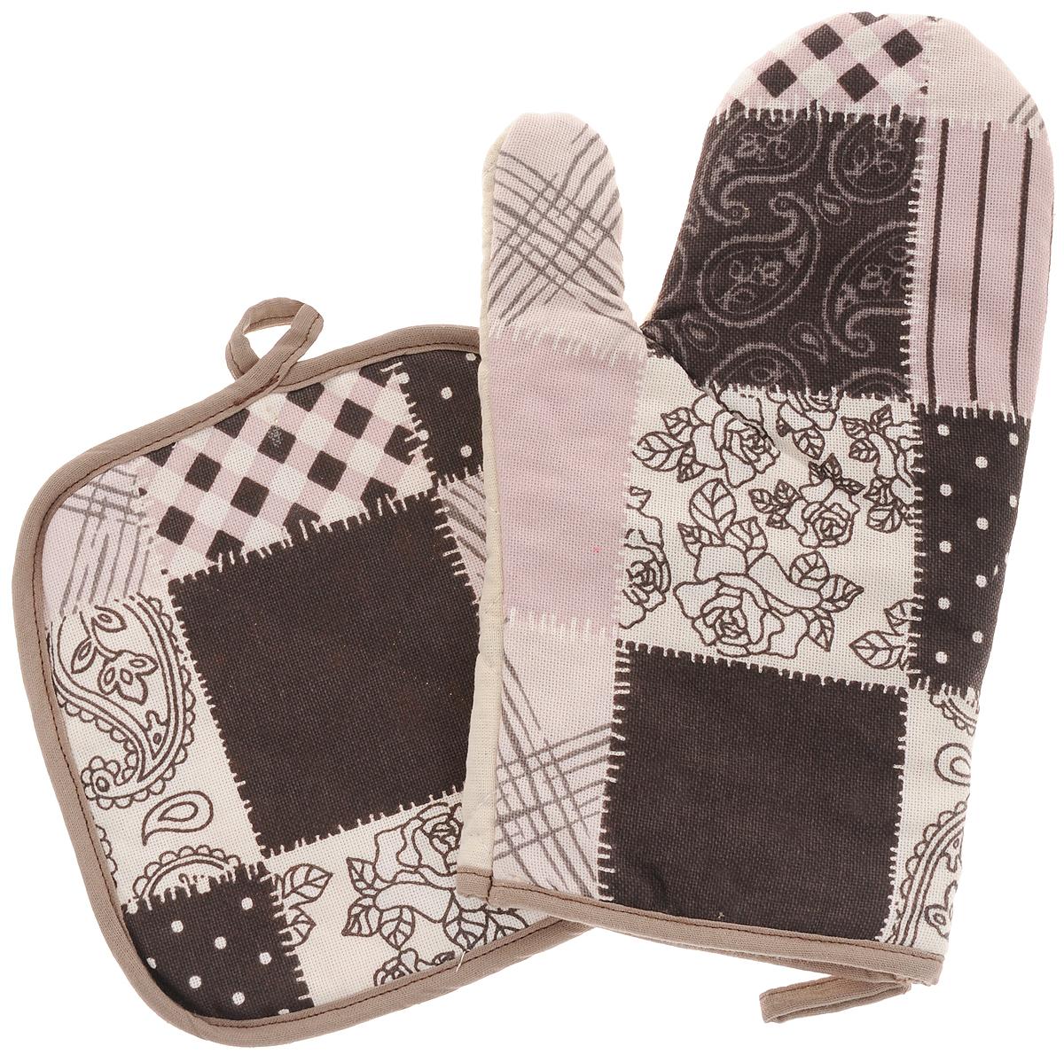 Набор прихваток Bonita Трюфель, 2 предмета11010815719Набор Bonita Трюфель состоит из прихватки- рукавицы и квадратной прихватки. Изделия выполнены из натурального хлопка и декорированы оригинальным рисунком. Прихватки простеганы, а края окантованы. Оснащены специальными петельками, за которые их можно подвесить на крючок в любом удобном для вас месте. Такой набор красиво дополнит интерьер кухни. Размер прихватки-рукавицы: 18 х 27 см. Размер прихватки: 18 х 18 см.