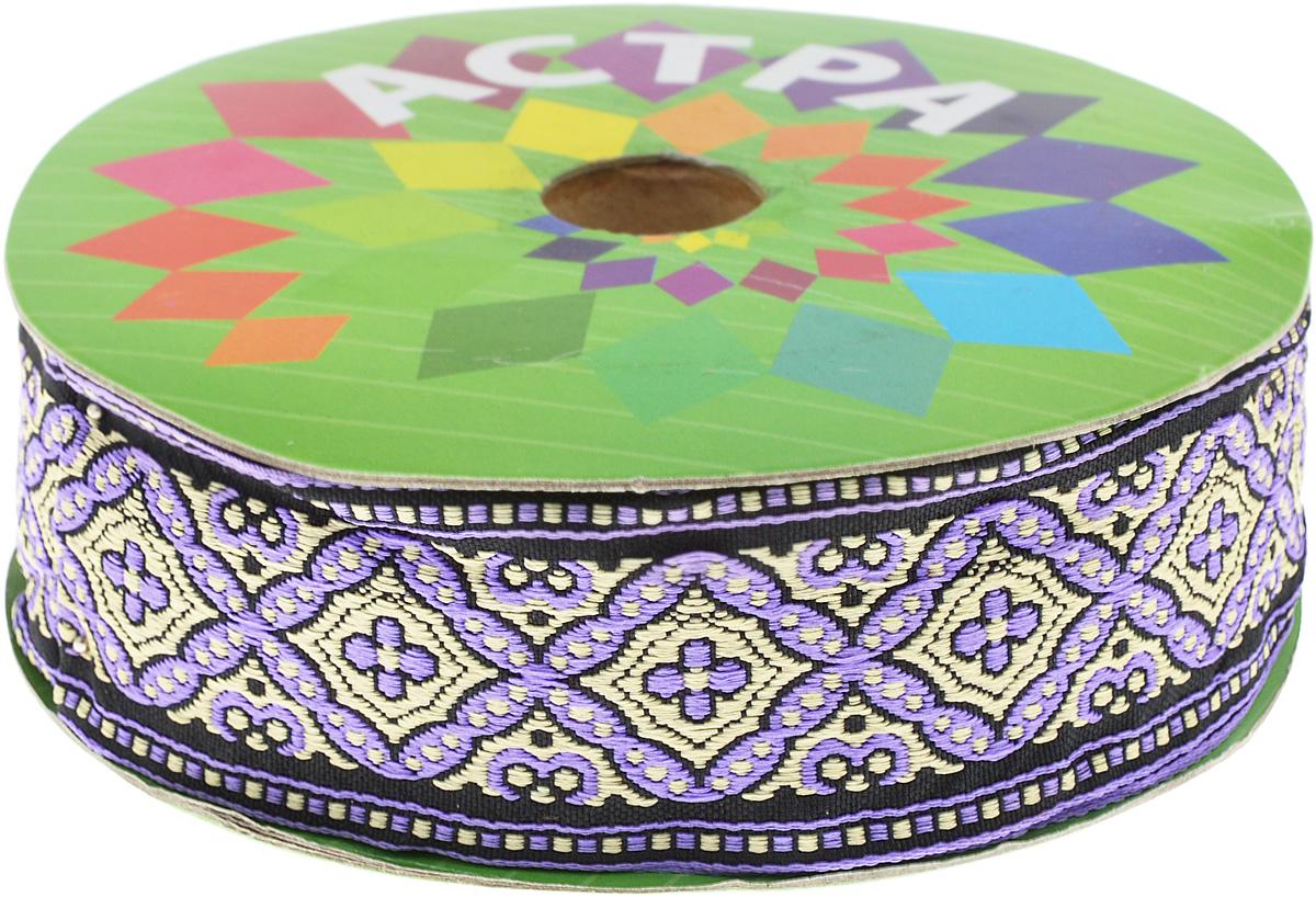 Тесьма декоративная Астра, цвет: сиреневый, ширина 4,5 см, длина 16,4 м. 77033557703355Декоративная тесьма Астра выполнена из текстиля и оформлена оригинальным орнаментом. Такая тесьма идеально подойдет для оформления различных творческих работ таких, как скрапбукинг, аппликация, декор коробок и открыток и многое другое. Тесьма наивысшего качества и практична в использовании. Она станет незаменимым элементом в создании рукотворного шедевра. Ширина: 4,5 см. Длина: 16,4 м.