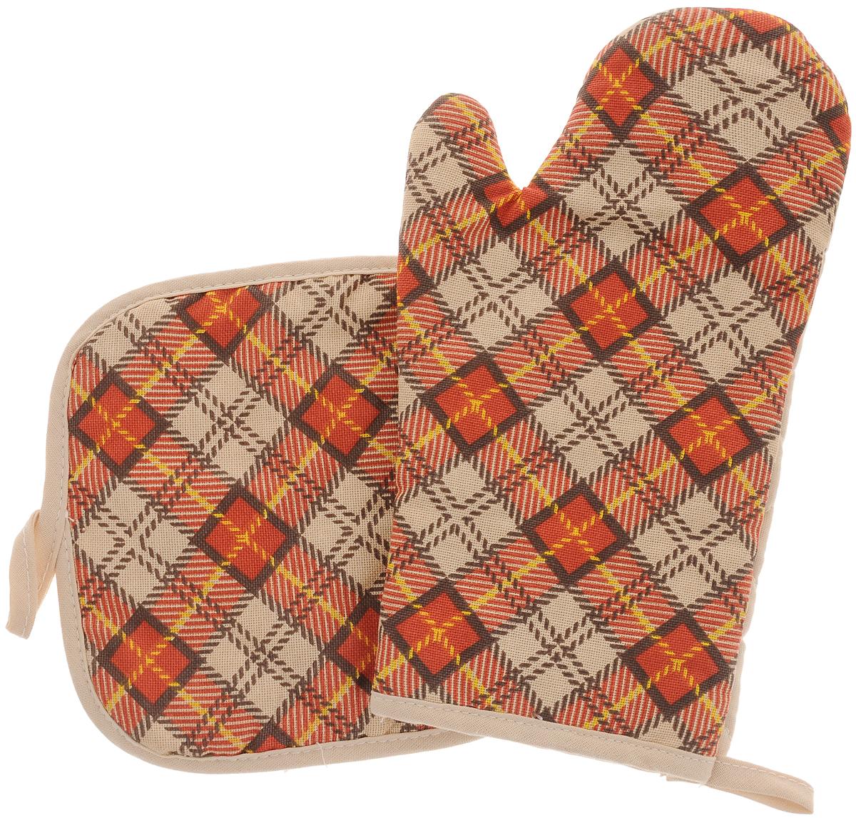 Набор прихваток Bonita Принц Уэльский, 2 предмета11010816470Набор Bonita Принц Уэльский состоит из прихватки- рукавицы и квадратной прихватки. Изделия выполнены из натурального хлопка и декорированы оригинальным рисунком. Прихватки простеганы, а края окантованы. Оснащены специальными петельками, за которые их можно подвесить на крючок в любом удобном для вас месте. Такой набор красиво дополнит интерьер кухни. Размер прихватки-рукавицы: 16 х 28 см. Размер прихватки: 17 х 17 см.