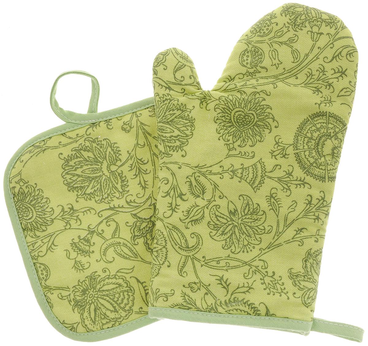 Набор прихваток Bonita Марципан, 2 предмета11010815721Набор Bonita Марципан состоит из прихватки- рукавицы и квадратной прихватки. Изделия выполнены из натурального хлопка и декорированы оригинальным рисунком. Прихватки простеганы, а края окантованы. Оснащены специальными петельками, за которые их можно подвесить на крючок в любом удобном для вас месте. Такой набор красиво дополнит интерьер кухни. Размер прихватки-рукавицы: 18 х 27 см. Размер прихватки: 18 х 18 см.