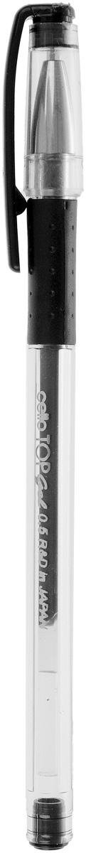 Cello Гелевая ручка Top Gel черная306 264010Гелевая ручка Cello Top Gel в корпусе из ударопрочного пластика прекрасно подойдет как взрослым, так и детям. Колпачок ручки имеет специальное каучуковое гнездо, который защищает не только пишущий узел, но и каучуковую накладку для пальцев. Игловидный пишущий узел изготовлен с прецизионной точностью. В самой ручке используются японские гелевые чернила.