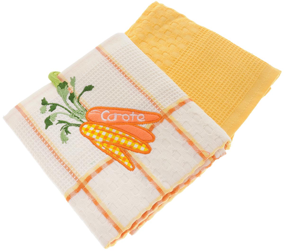 Набор кухонных полотенец Bonita Морковь, цвет: желтый, белый, 45 х 70 см, 2 шт101310055Набор кухонных полотенец Bonita Морковь состоит из двух полотенец, изготовленный из натурального хлопка, идеально дополнит интерьер вашей кухни и создаст атмосферу уюта и комфорта. Одно полотенце белого цвета в желтую клетку оформлено вышивкой в виде моркови и оснащено петелькой. Другое полотенце однотонное желтого цвета без вышивки. Изделия выполнены из натурального материала, поэтому являются экологически чистыми. Высочайшее качество материала гарантирует безопасность не только взрослых, но и самых маленьких членов семьи. Современный декоративный текстиль для дома должен быть экологически чистым продуктом и отличаться ярким и современным дизайном.