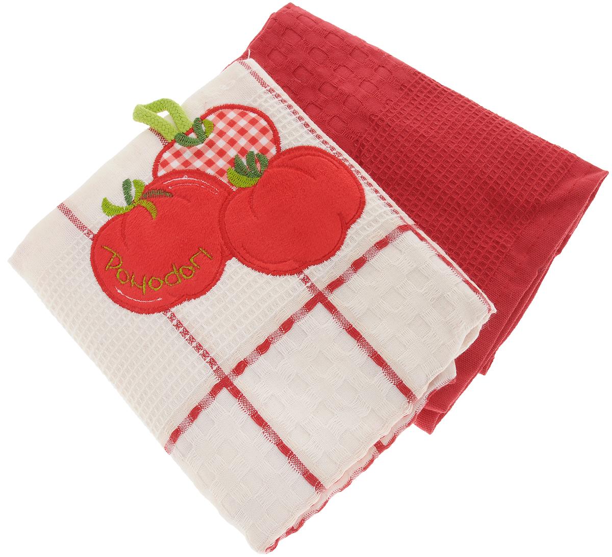 Набор кухонных полотенец Bonita Помидор, цвет: красный, белый, 45 х 70 см, 2 шт101310052Набор кухонных полотенец Bonita Помидор состоит из двух полотенец, изготовленный из натурального хлопка, идеально дополнит интерьер вашей кухни и создаст атмосферу уюта и комфорта. Одно полотенце белого цвета в красную клетку оформлено вышивкой и оснащено петелькой. Другое полотенце однотонное красного цвета без вышивки. Изделия выполнены из натурального материала, поэтому являются экологически чистыми. Высочайшее качество материала гарантирует безопасность не только взрослых, но и самых маленьких членов семьи. Современный декоративный текстиль для дома должен быть экологически чистым продуктом и отличаться ярким и современным дизайном.
