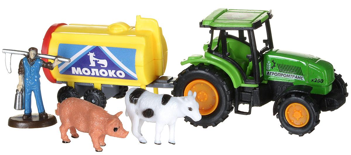 ТехноПарк Игровой набор Трактор с прицепом Молоко30519_бочка молокаИгровой набор ТехноПарк Трактор с прицепом Молоко предназначен для игры в фермера. Трудолюбивый фермер никогда не ленится, потому что в хозяйстве очень много дел. Для работы в поле ему не обойтись без трактора, ведь он может перевозить тяжелый груз на прицепе. В данном случае этот груз - бочка молока. Также в наборе ваш ребенок найдет 2 фигурки животных и фигурку фермера. Игра с данным набором поможет развить фантазию и расширить кругозор, также ребенок сможет узнать много нового о сельском хозяйстве. Фигурки хорошо дополняют игру и делают ее еще интереснее.