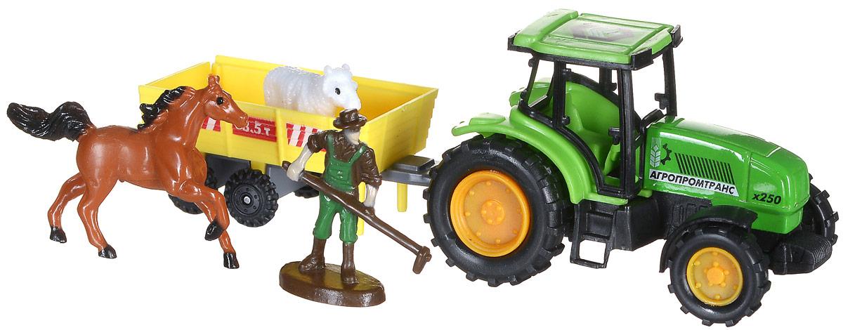 ТехноПарк Игровой набор Трактор30519Игровой набор ТехноПарк Трактор предназначен для игры в фермера. Трудолюбивый фермер никогда не ленится, потому что в хозяйстве очень много дел. Для работы в поле ему не обойтись без трактора, ведь он может перевозить тяжелый груз на прицепе. Также в наборе ваш ребенок найдет 2 фигурки животных. Игра с данным набором поможет развить фантазию и расширить кругозор, также ребенок сможет узнать много нового о сельском хозяйстве. Фигурки домашних животных дополнят игру и сделают ее еще интереснее.