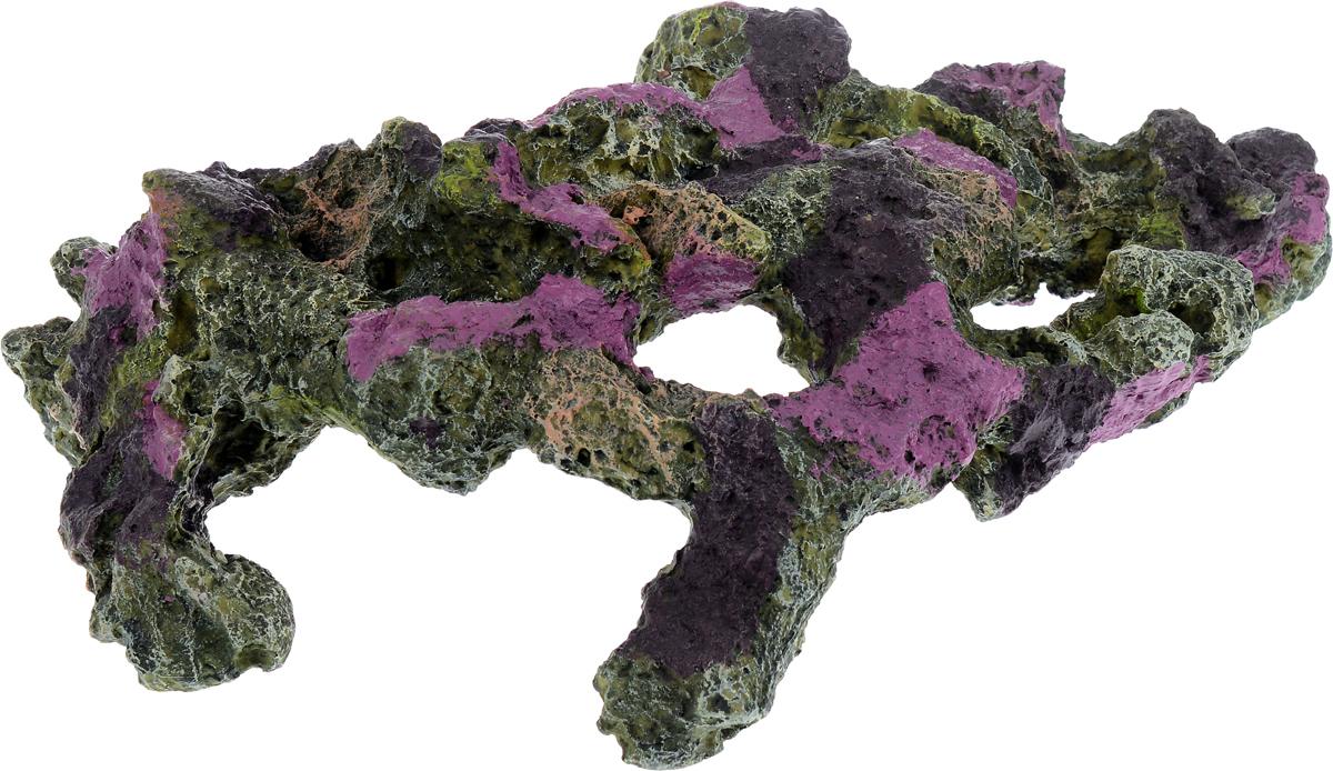 Декорация для аквариума Barbus Риф, цвет: зеленый, фиолетовый, 47,5 х 26,5 х 15 смDecor 069Декорация для аквариума Barbus Риф, выполненная из высококачественного нетоксичного полирезина, станет прекрасным украшением вашего аквариума. Изделие отличается реалистичным исполнением с множеством мелких деталей и отверстий. Ведь многие обитатели аквариума используют декорации как укрытия, в которых они живут и размножаются. Декорация абсолютно безопасна, нейтральна к водному балансу, устойчива к истиранию краски, подходит как для пресноводного, так и для морского аквариума. Благодаря декорациям Barbus вы сможете смоделировать потрясающий пейзаж на дне вашего аквариума или террариума.