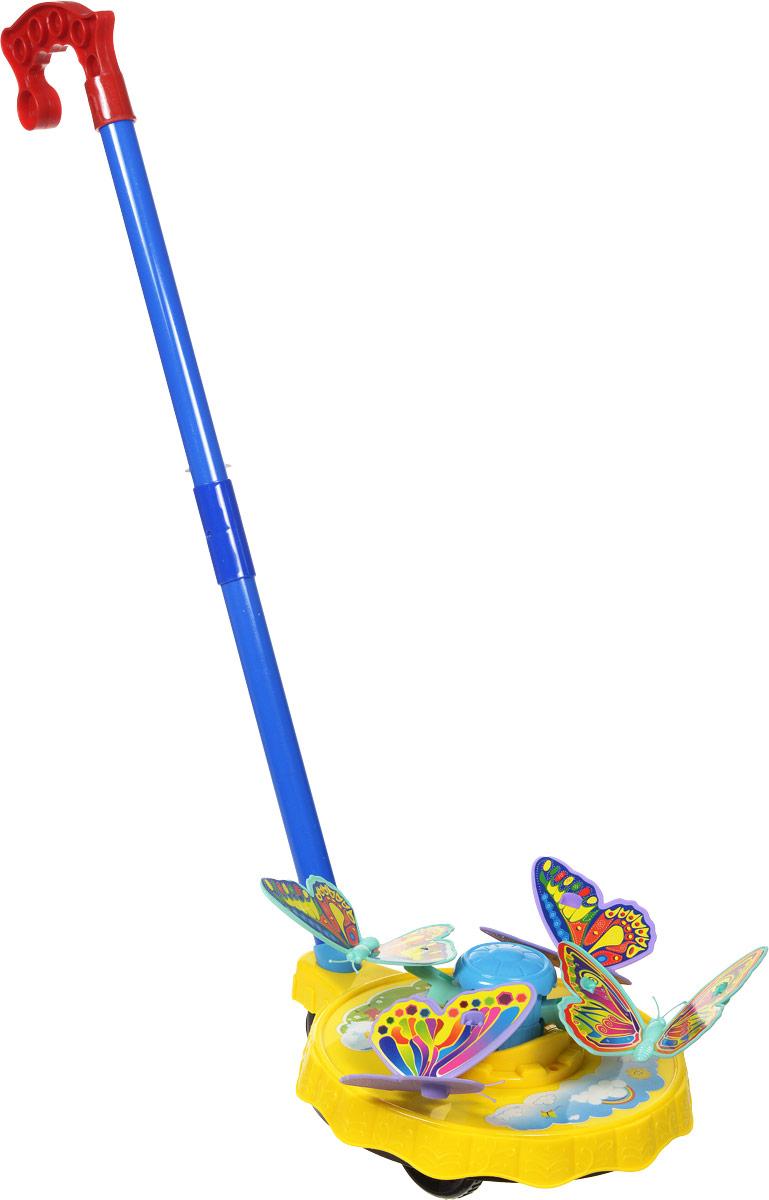 Ami&Co Игрушка-каталка Бабочки цвет желтый синий44426_желтыйЗабавная игрушка-каталка Ami&Co Бабочки станет любимой игрушкой вашего малыша. Каталка представляет собой круглую платформу с 4 бабочками, к которой крепится ручка-держатель. При вращении колес бабочки порхают по кругу, раздается звук колокольчика. Детская каталка предназначена для малышей, которые уже начали ходить самостоятельно. Яркие, забавные образы принесут радость и веселье во время игр. Игрушка поможет развить координацию движения, тактильные навыки и мелкую моторику рук ребенка, а издаваемые ею звуки активно стимулируют его слух. Порадуйте своего ребенка таким замечательным подарком!
