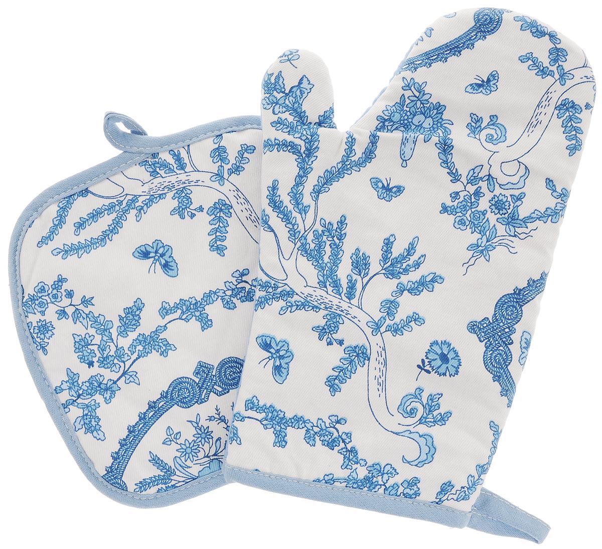 Набор прихваток Bonita Жуи, 2 предмета11010815725_набор1Набор Bonita Жуи состоит из прихватки- рукавицы и квадратной прихватки. Изделия выполнены из натурального хлопка и декорированы оригинальным рисунком. Прихватки простеганы, а края окантованы. Оснащены специальными петельками, за которые их можно подвесить на крючок в любом удобном для вас месте. Такой набор красиво дополнит интерьер кухни. Размер прихватки-рукавицы: 16 х 28 см. Размер прихватки: 17 х 17 см.