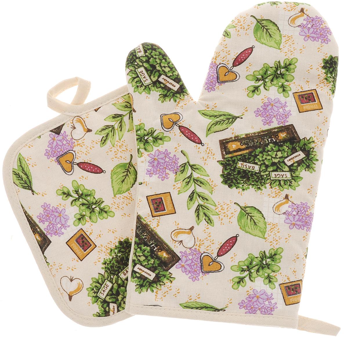 Набор прихваток Bonita Цветущие травы, 2 предмета1101812215Набор Bonita Цветущие травы состоит из прихватки- рукавицы и квадратной прихватки. Изделия выполнены из натурального хлопка и декорированы оригинальным рисунком. Прихватки простеганы, а края окантованы. Оснащены специальными петельками, за которые их можно подвесить на крючок в любом удобном для вас месте. Такой набор красиво дополнит интерьер кухни. Размер прихватки-рукавицы: 16 х 28 см. Размер прихватки: 17 х 17 см.