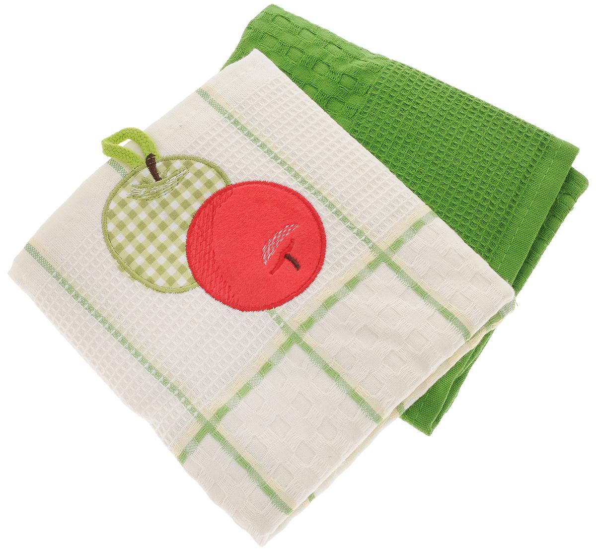 Набор кухонных полотенец Bonita Яблоко, цвет: зеленый, белый, 45 х 70 см, 2 шт101310106Набор кухонных полотенец Bonita Яблоко состоит из двух полотенец, изготовленный из натурального хлопка, идеально дополнит интерьер вашей кухни и создаст атмосферу уюта и комфорта. Одно полотенце белого цвета в зеленую клетку оформлено вышивкой в виде яблок и оснащено петелькой. Другое полотенце однотонное зеленого цвета без вышивки. Изделия выполнены из натурального материала, поэтому являются экологически чистыми. Высочайшее качество материала гарантирует безопасность не только взрослых, но и самых маленьких членов семьи. Современный декоративный текстиль для дома должен быть экологически чистым продуктом и отличаться ярким и современным дизайном.