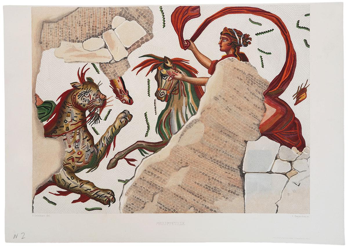 Древние римские мозаики. Вилла Филиппа. Резцовая гравюра, ручная раскраска. Западная Европа, около 1870 гг.НВА 170816-16Древние римские мозаики. Вилла Филиппа. Резцовая гравюра, ручная раскраска. Западная Европа, около 1870 гг.