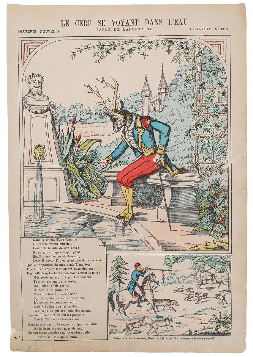 Басни Лафонтена. Олень и его отражение. Гравюра на дереве, ручная раскраска. Франция, середина XIX векаНВА 170816-33Ксилография, раскрашенная вручную, середины XIX века. Размер листа: 40.5 х 27.5 см. Сохранность удовлетворительная. Надрывы по левому и правому краям листа. На гравюре изображена иллюстрация к басне Лафонтена Олень и его отражение, а также приводится текст басни на языке оригинала. Не подлежит вывозу за пределы Российской Федерации.