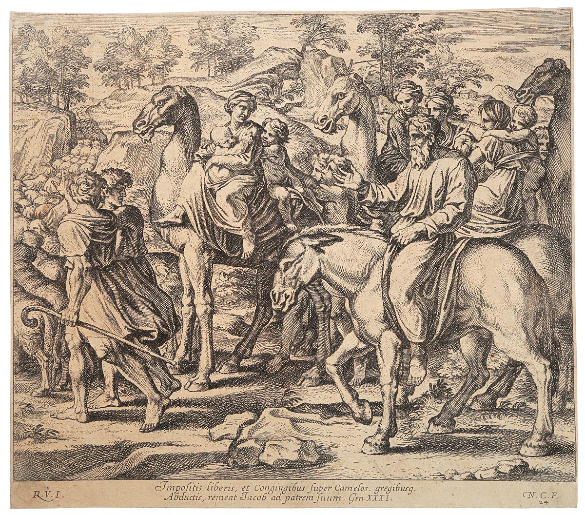 Эпизоды из Священной истории. Бегство Иакова. Гравюра. Западная Европа, 1640 год