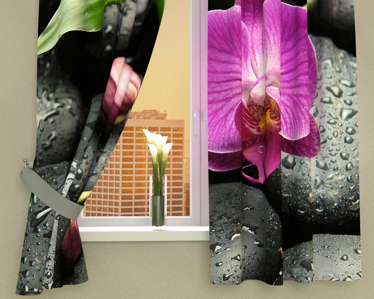 Комплект фотоштор Сирень Орхидея на камнях, на ленте, высота 160 см00209-ФК-ГБ-002Фотошторы для кухни Сирень Орхидея на камнях, выполненные из габардина (100% полиэстера), отлично дополнят украшение любого интерьера. Особенностью ткани габардин является небольшая плотность, из-за чего ткань хорошо пропускает воздух и солнечный свет. Ткань хорошо держит форму, не требует специального ухода. Крепление на карниз при помощи шторной ленты на крючки. В комплекте 2 шторы. Ширина одного полотна: 145 см. Высота штор: 160 см. Рекомендации по уходу: стирка при 30 градусах, гладить при температуре до 110 градусов. Изображение на мониторе может немного отличаться от реального. Подхваты в комплект не входят.