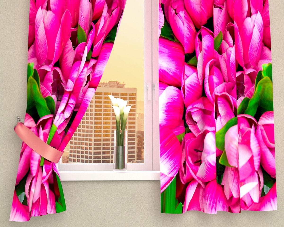 Комплект фотоштор Сирень Розовые тюльпаны, на ленте, высота 160 см00256-ФК-ГБ-002Фотошторы на кухню Сирень Розовые тюльпаны, выполненные из габардина (100% полиэстера), отлично дополнят украшение любого интерьера. Особенностью ткани габардин является небольшая плотность, из-за чего ткань хорошо пропускает воздух и солнечный свет. Ткань хорошо держит форму, не требует специального ухода. Крепление на карниз при помощи шторной ленты на крючки. В комплекте 2 шторы. Ширина одного полотна: 145 см. Высота штор: 160 см. Рекомендации по уходу: стирка при 30 градусах, гладить при температуре до 110 градусов. Изображение на мониторе может немного отличаться от реального.