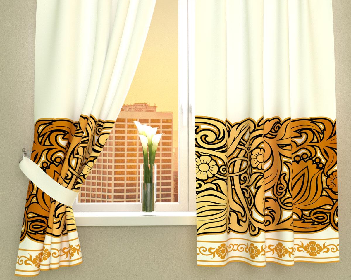 Комплект фотоштор Сирень Золотой узор, на ленте, высота 160 см02216-ФК-ГБ-002Фотошторы для кухни Сирень Золотой узор, выполненные из габардина (100% полиэстера), отлично дополнят украшение любого интерьера. Особенностью ткани габардин является небольшая плотность, из-за чего ткань хорошо пропускает воздух и солнечный свет. Ткань хорошо держит форму, не требует специального ухода. Крепление на карниз при помощи шторной ленты на крючки. В комплекте 2 шторы. Ширина одного полотна: 145 см. Высота штор: 160 см. Рекомендации по уходу: стирка при 30 градусах, гладить при температуре до 110 градусов. Изображение на мониторе может немного отличаться от реального. Подхваты в комплект не входят.