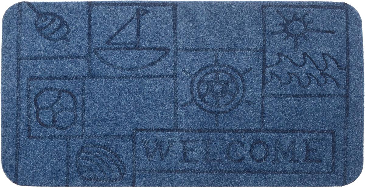 """EFCO (Egyptian fibers company) Коврик придверный EFCO """"Оскар. Кораблик"""", цвет: голубой, 70 х 40 см 13130_кораблик/голубой"""
