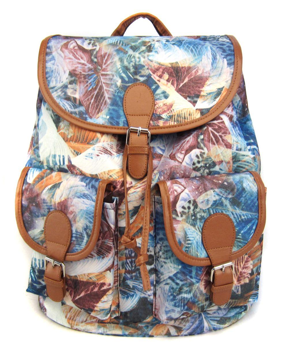 Рюкзак молодежный Creative Флора для тебя, цвет: мультиколор, 23 лGL-BC872Интересная вариация на тему всеми любимого денима. Рюкзак из плотной хлопчатобумажной ткани с актуальным растительным принтом с сине-голубых тонах смотрится очень стильно и по-молодежному.
