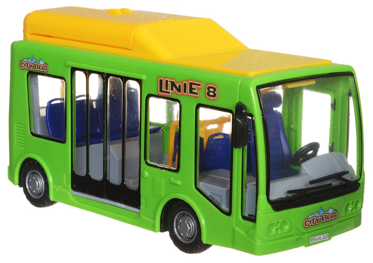 Dickie Toys Городской автобус цвет салатовый желтый3823003_салатовый, желтыйГородской автобус Dickie Toys непременно понравится каждому ребенку, неравнодушному к технике. Двери автобуса открываются и закрываются с помощью рычажка на противоположной стороне игрушки, что позволяет разглядеть сиденья внутри, а также кабину водителя. На крыше игрушки имеется отсек с газовыми баллонами, который можно распахнуть. Крышка двигательного отсека, расположенного сзади, поднимается. Корпус автобуса изготовлен из высококачественного пластика, поэтому абсолютно безопасен для здоровья ребенка. Сделайте вашему ребенку такой замечательный подарок!