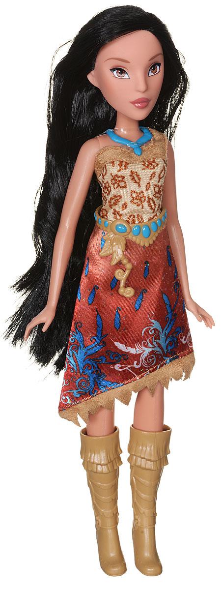 Disney Princess Кукла ПокахонтасB6447EU4_B5828Кукла Disney Princess Покахонтас обязательно привлечет внимание вашей дочурки. Покахонтас одета в этническом стиле, платье с косым кроем подола, высокие сапожки в тон наряду. У куколки смуглая кожа, милые черты лица и невероятно красивые черные волосы, которые можно расчесывать и заплетать. Подвижные ручки, ножки и голова позволяют Покахонтас принимать множество реалистичных поз. Очаровательная детализированная кукла приведет в восторг вашу малышку и отлично дополнит имеющуюся коллекцию диснеевских принцесс.