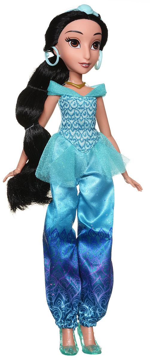 Disney Princess Кукла ЖасминB6447EU4_B5826Кукла Disney Princess Жасмин - восточная красавица из мультфильма про Аладдина. Жасмин - самая экзотичная, загадочная и чарующая принцесса Диснея, дочь султана из вымышленного восточного королевства. Жасмин обладает красивым смуглым цветом кожи. У нее длинные черные волосы, которые ваша малышка с удовольствием будет расчесывать. На голове принцессы имеется диадема. Наряд принцессы Жасмин состоит из бирюзового топа, шаровар и остроносых балеток. Образ дополняют крупные серьги. Подвижные ручки, ножки и голова позволяют Жасмин принимать множество реалистичных поз. Очаровательная детализированная кукла приведет в восторг вашу малышку и отлично дополнит имеющуюся коллекцию диснеевских принцесс.