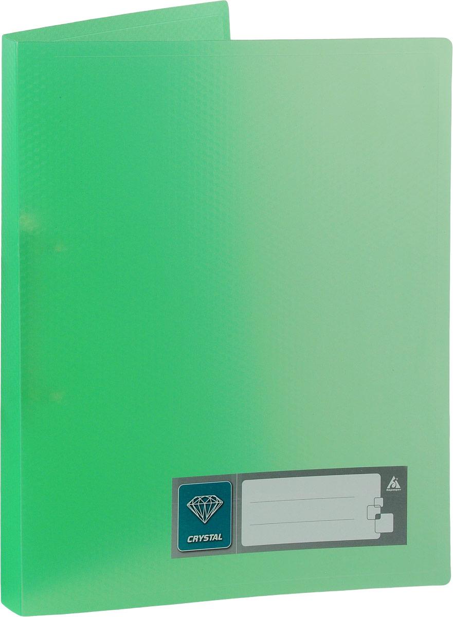 Бюрократ Папка на 2-х кольцах Crystal формат А4 цвет зеленый