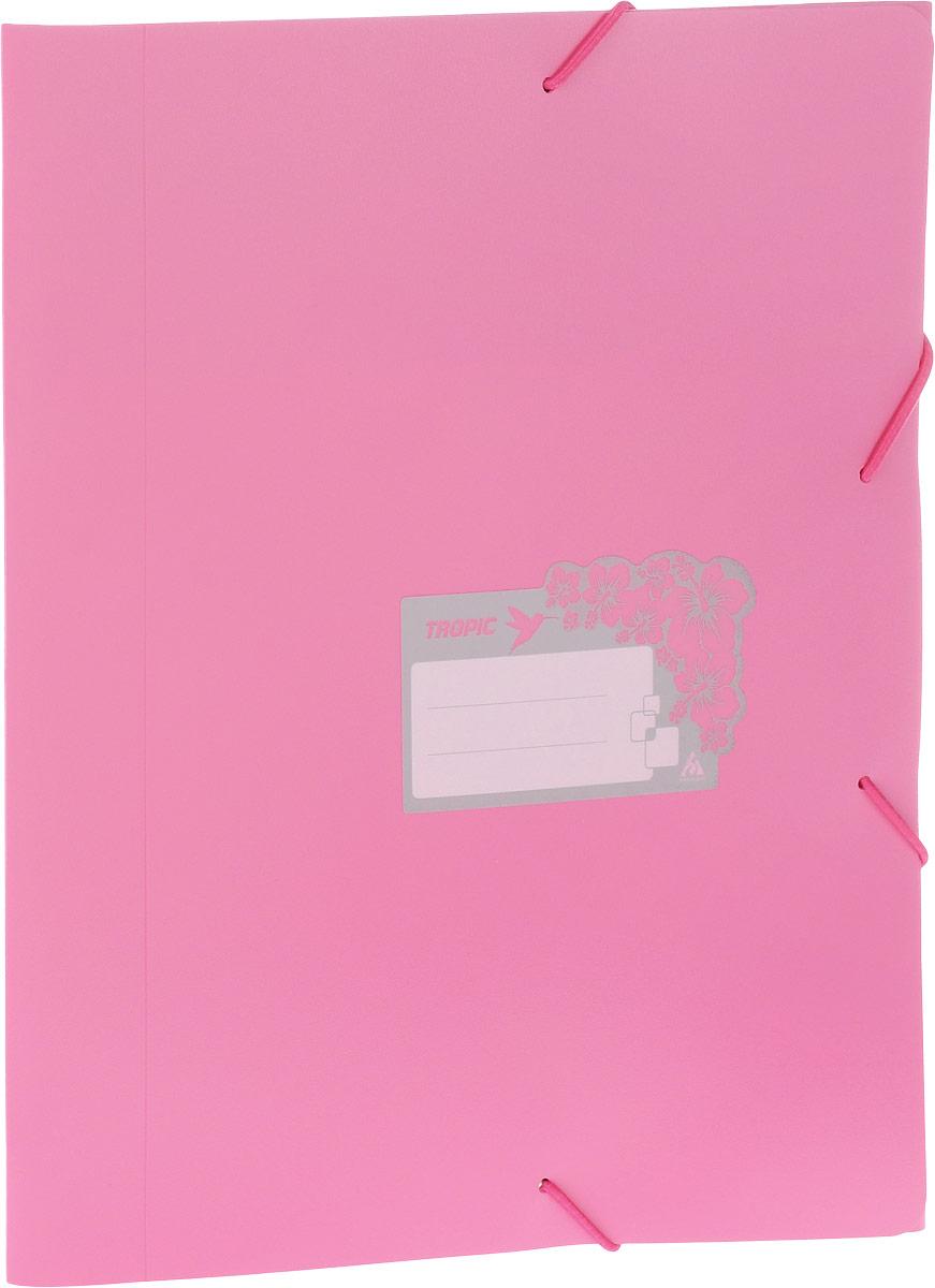 Бюрократ Папка-короб на резинке Tropic формат А4 цвет розовый816256Папка-короб на резинке Tropic - это удобный и функциональный офисный инструмент, предназначенный для хранения и транспортировки большого объема рабочих бумаг и документов формата А4. На лицевой стороне папки имеется место для ФИО владельца, оформленное рисунком с тропическими цветами. Папка изготовлена из жесткого, но гибкого фактурного пластика и закрывается при помощи угловых резинок. Резинки не позволят папке раскрыться в неподходящий момент. Папка надежно сохранит ваши документы и сбережет их от повреждений, пыли и влаги.