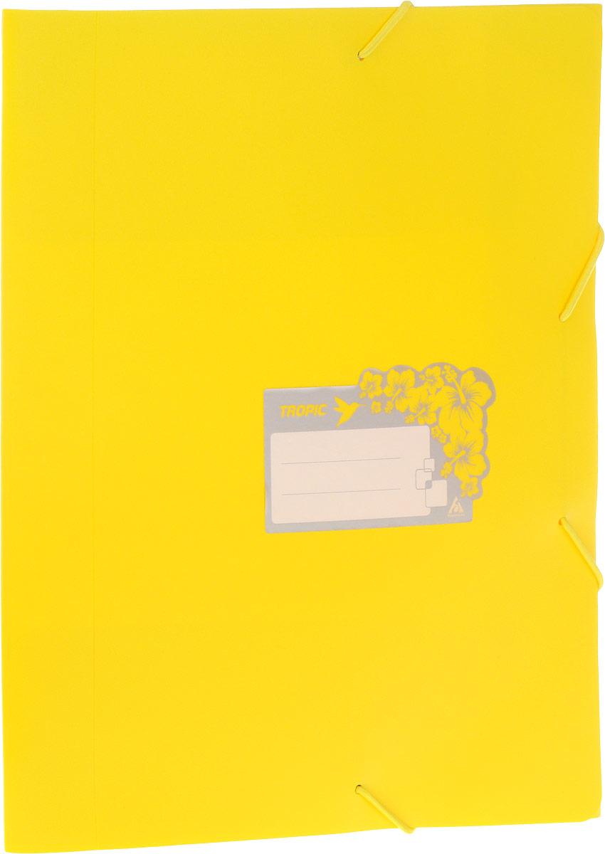 Бюрократ Папка-короб на резинке Tropic формат А4 цвет желтый 816258
